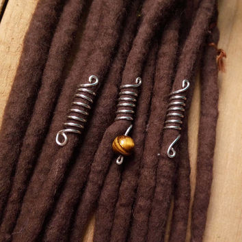 Hair jewerly, dread beads set, tiger eye jewelry, dreadlocks jewelry, silver wire dread beads, Dread accessories
