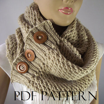 KNITTING PATTERN SCARF - Lou Lou Scarf Cowl Pattern - Big Scarf Cowl with wooden Buttons