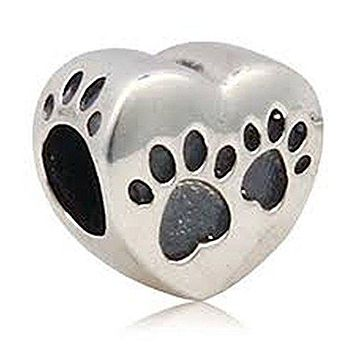 Love Heart Dog Paw Charm Bead