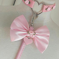 30%off sale Luxe petplay ddlg collar and leash set bdsm vegan pink roses girly