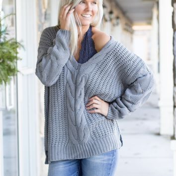 Fireside Cable Knit Sweater in Cloud