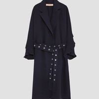 TRENCH COAT WITH RUFFLED SLEEVESDETAILS