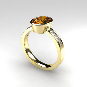 Oval cut 1.98ct Imperial topaz engagement ring, diamond ring, brown topaz, guerro topaz, unique, bezel engagement, diamond ring, gold ring