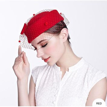 French Bow Wool Fascinator With Veil