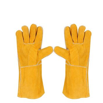 44cm long Cowhide Leather TIG MIG welding gloves, non-slip temperature resistance wear-resistant wear-resistant work gloves