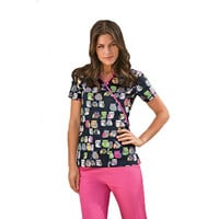Scrub H.Q. by Cherokee Women's Mock Wrap Print Scrub Top