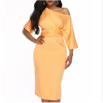 Fashion New Solid Color Short Sleeve Dress Women Yellow