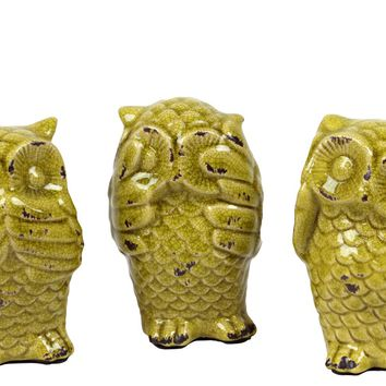 Assortment of Three Ceramic Distressed Gloss Finish Yellow Green Owl No Evil Hear Speak See Figurines