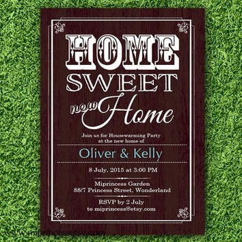 housewarming invitation, party invites, New house home sweet home Invitation Card WOOD design We have moved Invitation Design - card 309