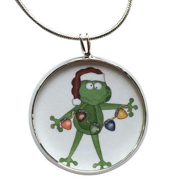 Frog with Lights Pendant Necklace, Christmas Pendant, fashion jewelry, gifts for women, jewelry, statement necklace
