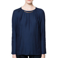 APPLIQUÉ BLOUSE WITH GOLD NECKLINE - Shirts - Woman - ZARA United States