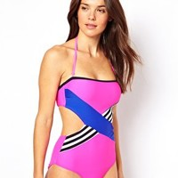 River Island Neon Pink Chevron Bandeau Swimsuit at asos.com