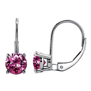 14k White Gold Over Sterling Silver Pink Round Cz Leverback