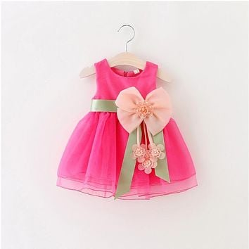 Cool summer sleeveless lace TUTU dress reine des neiges girl princess dress with bow high quality 3D beaded flower