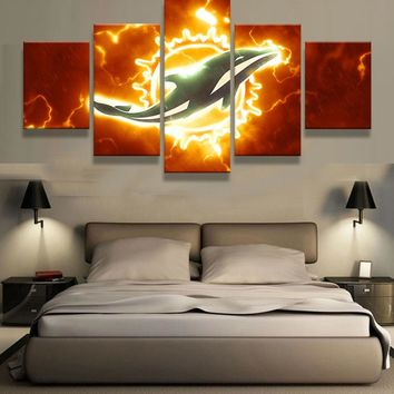 5 Panel Miami Dolphins Sports Team Logo Modern Home Wall Decor Canvas Picture Art HD Print Painting On Canvas For Living Room
