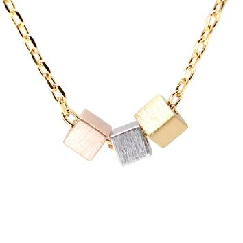 Handcrafted Brushed Metal Tri Color Cube Necklace