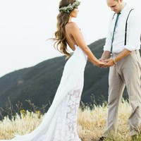 Bohemian Wedding Dress with Side Split Spaghetti Straps Boho Wedding Gown White/Ivory Beach Bridal Dress Custom Size Made Online with $115.19/Piece on Gama's Store | DHgate.com