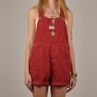 Levis Shorts Overalls Red Denim