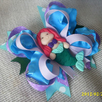 The Little Mermaid Princess Hair Bow with Princess Ariel Mermaid Center