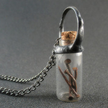 necklace with rusty nails, little bottle pendant, steampunk, glass bottle necklace, terrarium necklace, metalwork, handmade