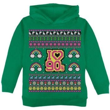 PEAPGQ9 I Love the 90s Retro Nostalgia Ugly Christmas Sweater Toddler Hoodie