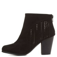 Qupid Laser-Cut Chunky Heel Booties by Charlotte Russe