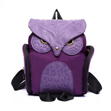 Women Cute Owl Backpack Purse Casual School College Daypack Bag Grils Boys