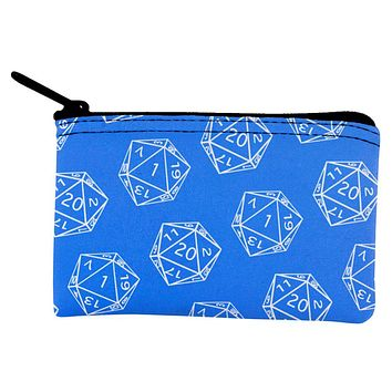D20 Gamer Critical Hit and Fumble Blue Pattern Dice Pouch
