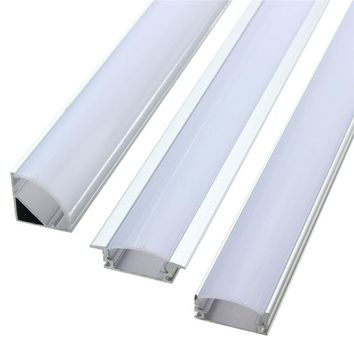 Lamp Cover 50cm U V YW Style Aluminium Milk Cover Rigid Channel Holder For LED Strip Bar Light Under Cabinet Cupboard Lighting