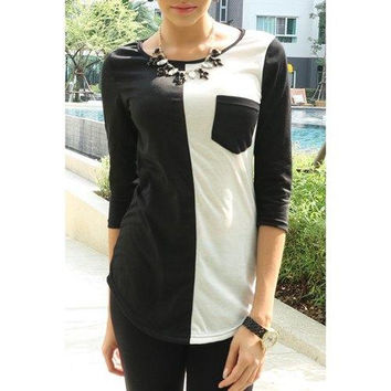 Casual Scoop Neck Color Block 3/4 Sleeve T-Shirt For Women
