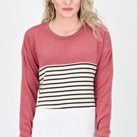 Color Block & Stripes Knit Sweater {Rust/Ivory}