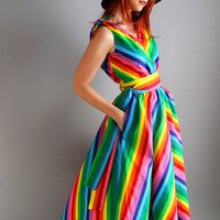 Handmade Cotton Chevron Rainbow Dress. Day Dress. Designer Dress. Alternative Wedding. Bridesmaid