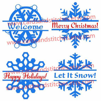 Split Snowflakes - Digital Cutting File - Instant Download - Graphic Design - SVG, DXF, JPG
