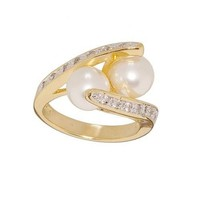 Simulated Pearl and Cubic Zirconia Crossover Ring