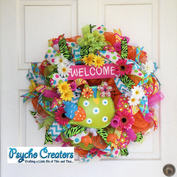 Welcome Owl Deco Mesh Wreath Colorful Spring Summer Flowers