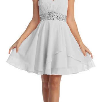 Short Chiffon Semi Formal Dress Silver Rhinestone Waist