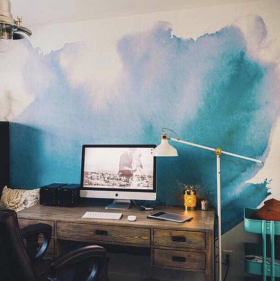 Watercolor wall mural watercolor from anewalldecor on etsy for Diy photo wall mural