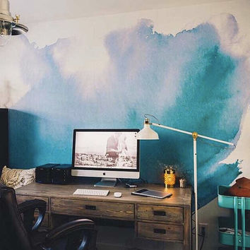 "Watercolor Wall Mural, Watercolor Wallpaper, - 150"" x 108"""
