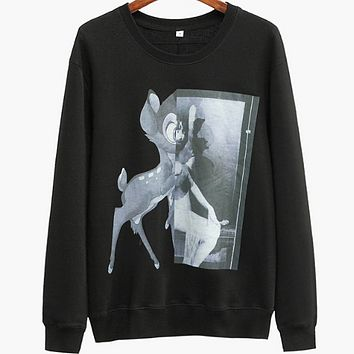 Givenchy qiu dong new lovely sweet little deer barbie pure color men and women's long sleeve hoodies