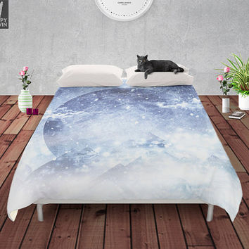 Even mountains get cold some times Duvet cover