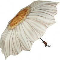 Galleria White Daisy Folding Umbrella