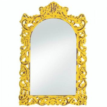 Distressed Yellow Ornate Wood Wall Mirror