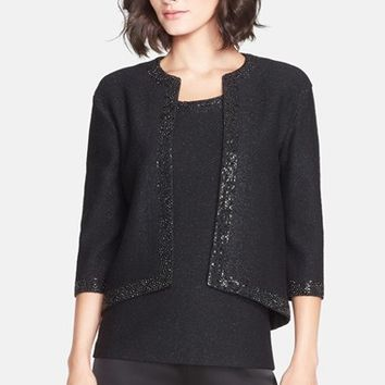 Women's St. John Collection Sequin Trim Shimmer Knit Crop Jacket
