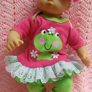 "AMERICAN GIRL Bitty Baby Clothes ""Kiss A Frog"" (15 inch) doll outfit top, diaper cover, baby booties/ socks, and headband"