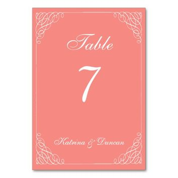 Elegant Swirl Coral Personalized Table Card