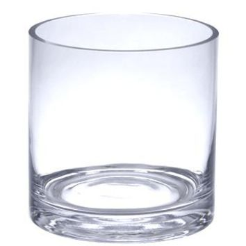 "Clear Glass Cylinder Vase - 4"" Tall x 4"" Diameter"