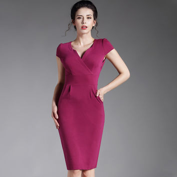 Summer casual Cocktail Women V neck puff sleeve sheath office work  Bodycon bandage Business Party vintage Pencil Dress 737