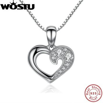 100% Real 925 Sterling Silver Our Hearts & Love Pendant Necklaces Clear CZ for Women Girls Jewelry Birthday Gift For Lover