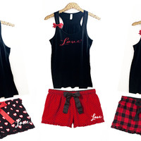 Valentines Day Pajama Set - ADULT Sizes - Ruffles with Love - RWL - Love - Pajamas