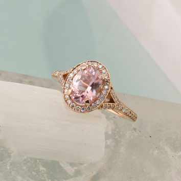 14k Rose Gold Split Shank Diamond Halo Engagement Ring Mounting for 8 x 6 Oval Peach, Champagne Pink or White Centre Stone